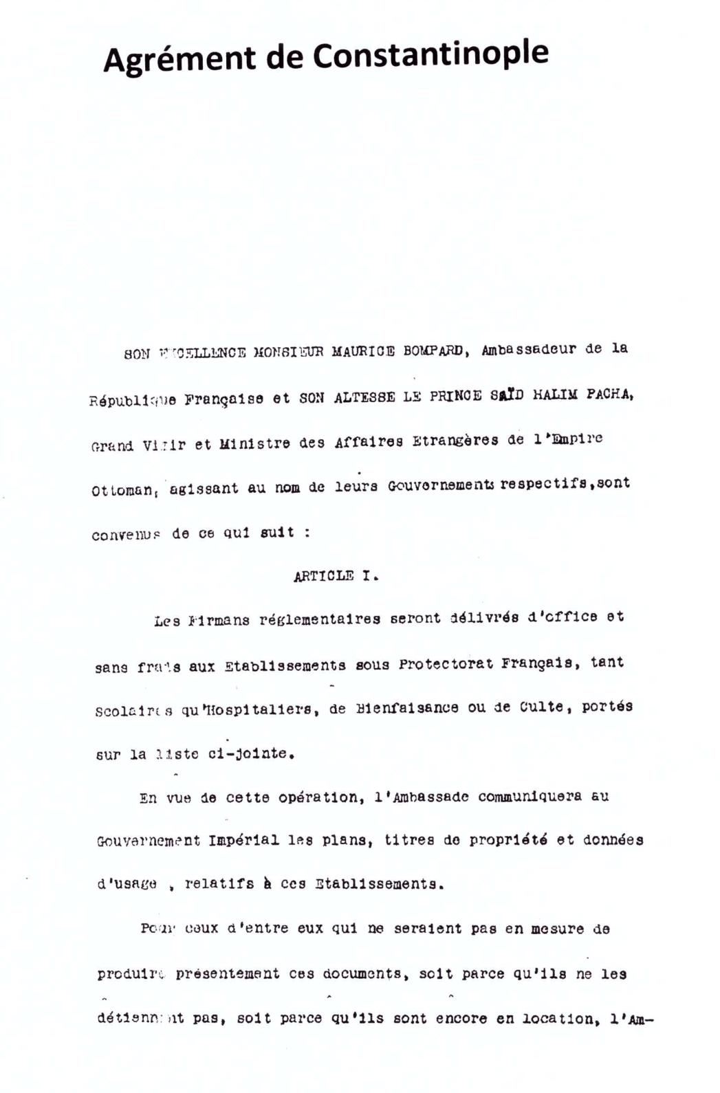 AGREMENT - ACCORD DE CONSTANTINOPLE 1913